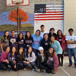 Fraternity Paint A Mural At Knickerbocker