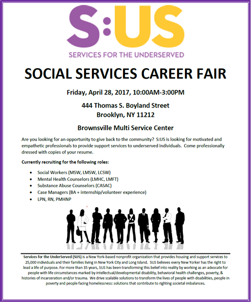 Social Services Career Fair: April 28, 2017