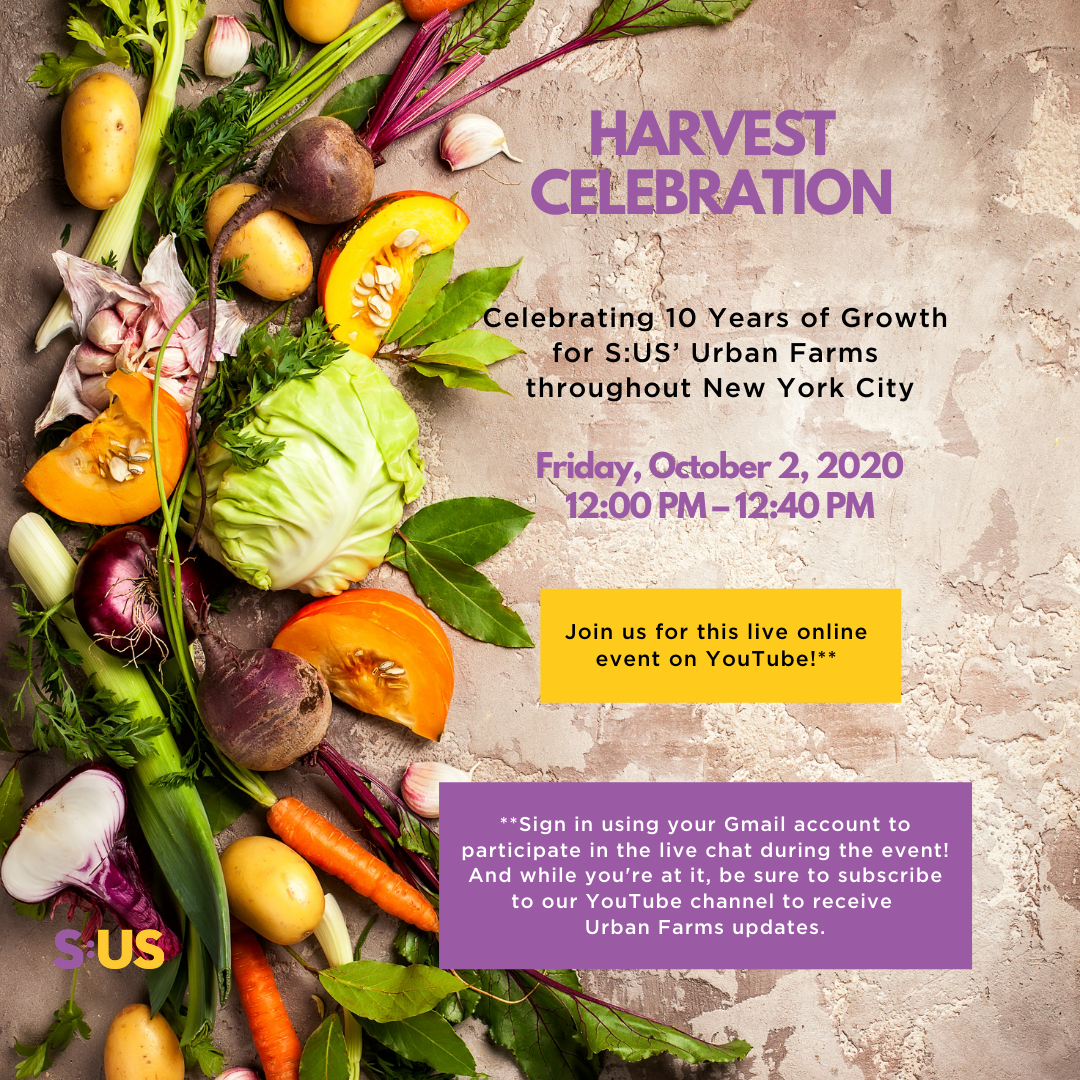 Join S:US for our Harvest Celebration on October 2!