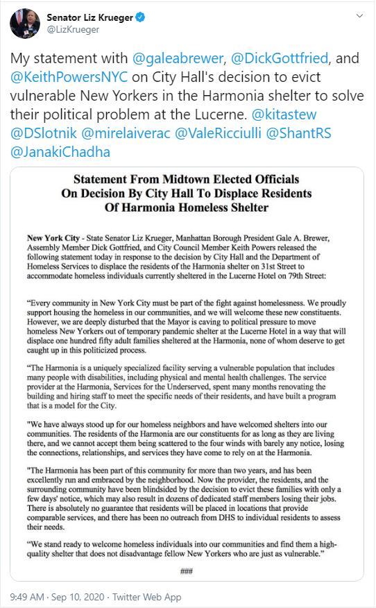 Sen Krueger's tweet about Harmonia displacement